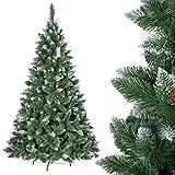 FairyTrees künstlicher Weihnachtsbaum KIEFER, Natur-Weiss beschneit, Material PVC, echte Tannenzapfen, inkl. Metallständer, 220cm, FT04-220
