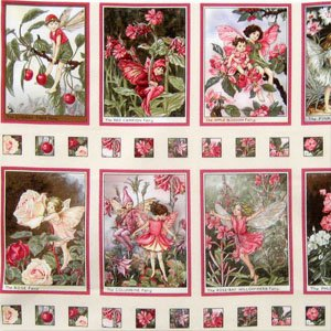 Quilt-Baumwoll-Stoff bedruckt 12Quadrate, Design von Michael Miller, Motiv Blumenfeen