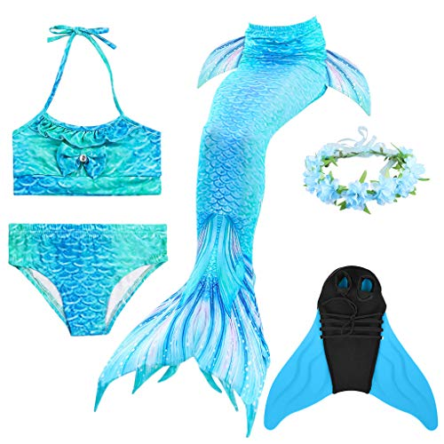 Jungen Engel Kinder Kostüm - Guter Handwerker Mädchen Meerjungfrauenschwanz zum Schwimmen,Mermaid Tail, für Mädchen, Jungen, Kinder und Erwachsene Monofin Girlande INKLUSIVE (Blauer Engel, 150)
