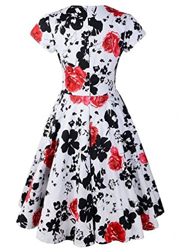marloca Classy 50s printemps Hepburn Swing Floral Robe Rockabilly Rouge - Rouge