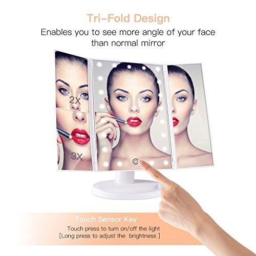 BESTOPE Kosmetikspiegel Beleuchtete Schminkspiegel mit 21 LED-Leuchtmittel Make Up Spiegel 2X/3X Vergrößerung für Arbeits/Tischplatte Bewegliche Kabellose Stromversorgung durch Akku oder USB-Aufladung - 2