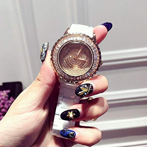 GUOZBIAOA Damenuhr Uhren Mode Frauen Keramik Uhr Dame Glänzende Umdrehung Kleid Uhr Großen Diamanten Stein Armbanduhren Dame Uhr