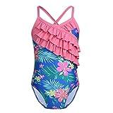 iiniim Mädchen Einteiler Badeanzug Floral Print Tankini Bikini Schwimmanzug Badebekleidung Gr.80-128 Blau 104-110/4-5 Jahre