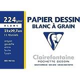 ClaireFontaine - Réf 96156C - Une Pochette Dessin à Grain Blanc A4 12 Feuilles 224 g vendu à l'Unité