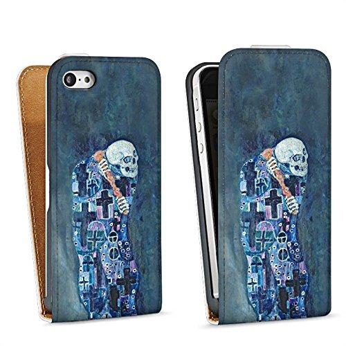 Apple iPhone 5 Housse Étui Silicone Coque Protection Gustav Klimt Tableau Mort et vie Sac Downflip blanc