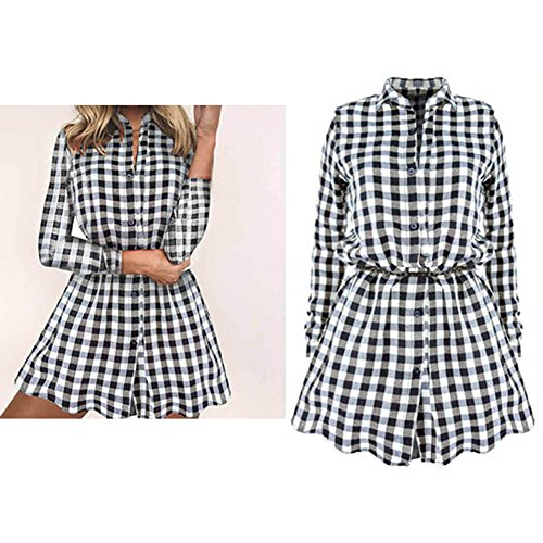 Juleya Mode Femmes Plaid Chemise - 2017 Automne Style Classique À Manches Longues Chemise Pull Slim Fit Mini Robe Chemises Casual Tops S-XL Noir Blanc