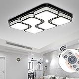 YESDA LED Modern Deckenleuchte Deckenlampe Panel Lampe Energiespar Licht für Wohnzimmer Wandlampe Acryl lackierte Rahmen Durchbohrte Design (Schwarz-78w Dimmbar)