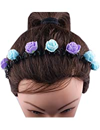 Kabello Multi Colored Flower Headband /Hair Band For Girls And Women (Purple / Blue)