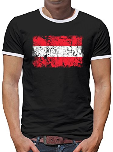 Touchlines Merchandise Österreich Vintage Flagge Fahne Kontrast T-Shirt Herren XXXL Schwarz