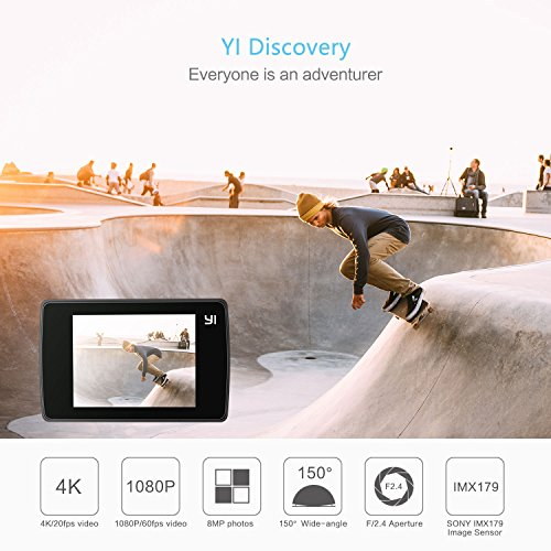YI Discovery, fotocamera wireless 4 K Action, con 2.0 LCD Touch Screen, grandangolo, 150°, sensore Sony, con batteria