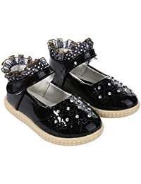 47b06a5ad7 Forever Young Kids Girls Black Frill Top Walking Shoes Patent Party Shoe  Infant Sizes