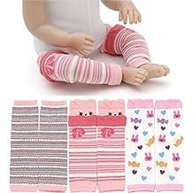 Hillento rodilleras bebé, juego de 3 bebé calentador de la pierna para el rastreo de los calcetines del bebé calentadores, medias hasta la rodilla protector