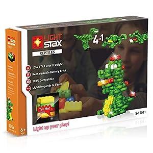 Light STAX S de 13011Juego, Compatible con Lego, con 105Piedras de diseño de LED, para Cuatro Diferentes Reptiles (Dinosaurios, dragón, cocodrilo, Tortuga)