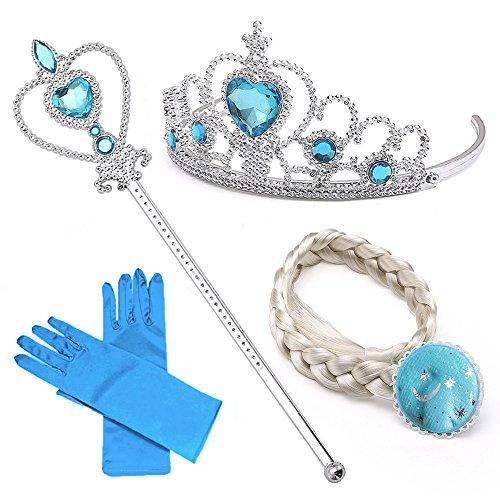 Set de déguisement de filles pour costume d'Elsa la Reine des Neiges - Diadème avec un diamant Bleu/Gants/Baguette magique/Tresse Blanche - 2-9 ans