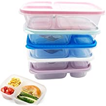 Plastic Food Containers Kids Lunch Box Meal Snack Storage Bento Boxes For School Office With Lid and 3 Compartment BPA Free, Freezer Fridge Microwave Dishwasher safe (Set-2)