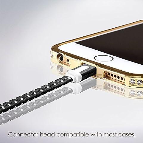 Cable Lightning para Apple iPhone 6s/6/5, iPad, iPod - 2m, Negro, Plano - Cordon Cargador de Carga y Sincronización de datos - USB Syncwire de SWISS-QA - Devolución del Dinero