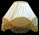 "RDC 12"" Round Pleated Cream with Golden Lace Border with Frills Lamp Shade for Table Lamp or Floor Lamp"