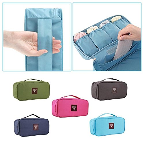 grandey Wasserdicht Frauen Girl Lady Tragbare Reise BH Unterwäsche Dessous Organizer Bag Kosmetik Make-up Kulturbeutel Wash Storage Fall Pink blau 28 cm grün
