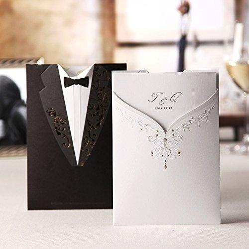 Wishmade sposo sposa bianco e nero taglio laser, inviti da matrimonio inviti cartoncino per festa di fidanzamento sposa doccia cw2011