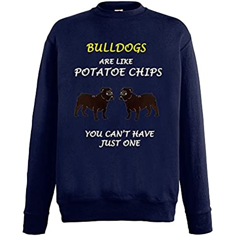 Dogs are like Chips Collezione 1, Fruit of the Loom Blu Notte Mens Sweatshirt Uomo (Bulldogs Fleece Felpa)