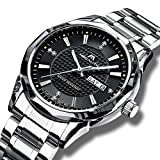 Herren Uhren Männer Wasserdichte Luxus Edelstahl Schwarz Armbanduhr Herrenuhr Casual Business Kalender Datum Analog Scratch Beweis Wolfram Stahl Fall