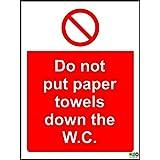 Higiene Catering Toallas de papel no ponga el W.C. Seguridad–Señal autoadhesiva (200mm x 150mm