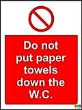 Hygiene Catering nicht PUT Papier Handtücher Down die Toilette Hinweisschild–Sticker Selbstklebend 200mm x 150mm