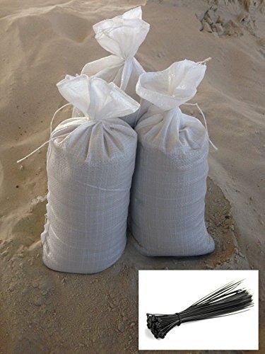 50 x Hochwassersäcke PP 30 x 60 weiß für 15 kg Sand + 50 Kabelbinder 3,6 x 200 schwarz