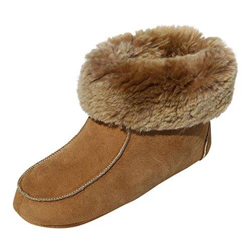 Lammfell Hausschuhe - Ibiza Damen Schuhe Hüttenschuhe Fellschuhe Bettschuhe mit weicher Sohle Größe EUR 42
