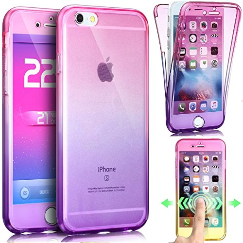 JAWSEU Coque pour iPhone 6 Plus/6S Plus 5.5,Apple iPhone 6S Etsui Housse en Silicone Glitter,iPhone 6 Housse Ultra Mince Transparent Flexible Souple Coque Cas Soft Gel Protective Case Luxe Élégant Fem Rose+violet