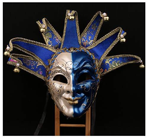 Jester Maske Kostüm - YUFENG New Orleans Mardi Gras Schwarz Weiß Bell Maske Jester Kostüm Paraden Karneval Ball Blau