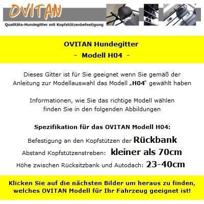 OVITAN Hundegitter fürs Auto 4 Streben universal zur Befestigung an den Kopfstützen der Rücksitzbank – für alle Automarken geeignet – Modell: H04 - 3