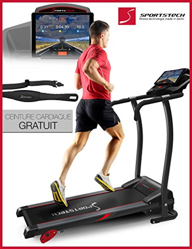Sportstech F15 tapis de course avec app de contrôle via smartphone, Bluetooth, 3 HP, 12 KM/H, 17 programmes et support de la tablette - pliable compact pour stockage