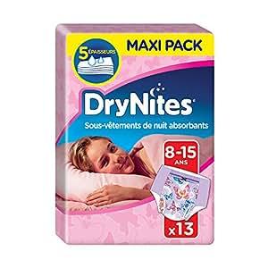 Huggies Drynites 8-15 ans Fille (27-57kg) - Sous-vêtements de Nuit Absorbants pour Enfants qui font