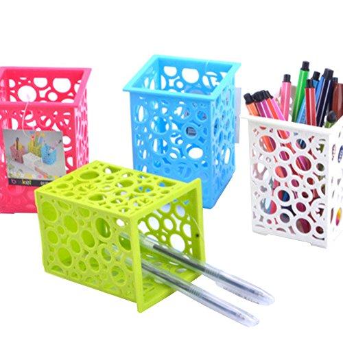 i Desktop Mülleimer, Papierkorb, mit Halterung, kreative Hohl Blumen-Abdeckung, mit kleiner Abfall-Staub, für Home Office Schreibtisch Wohnzimmer grün ()