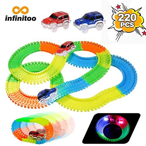 infinitoo Track Cars Pista Macchinine Luminosa Pista Flessibile 220 Pezzi ( 3.3 m) con 2 Cars Pista Gioco Magia Serie di Auto da Corsa Giocattolo Fluorescente Regalo per Bambini 3anni ... (220pcs)