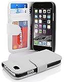 Cadorabo Hülle für Apple iPhone 6/iPhone 6S - Hülle in MAGNESIUM WEIß – Handyhülle mit 3 Kartenfächern - Case Cover Schutzhülle Etui Tasche Book Klapp Style
