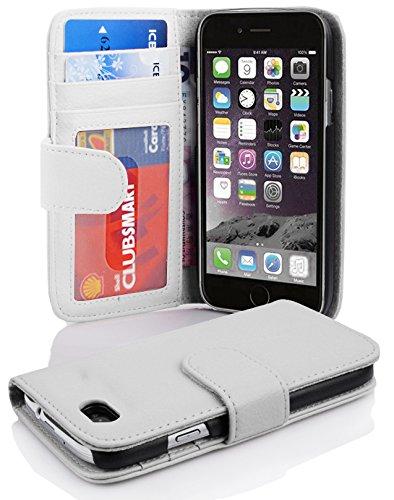 Cadorabo Hülle für Apple iPhone 6/ iPhone 6S Hülle in Handyhülle mit 3 Kartenfächern Case Cover Schutzhülle Etui Tasche Book Klapp Style Magnesium Weiß