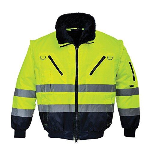 Portwest - Pj50ynrxl chaqueta de piloto 3 en 1 de alta visibilidad, amarillo/azul, xl