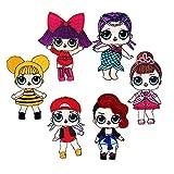 FSMILING 6 PCS LOL Bambole Sorpresa Toppe Termoadesive per Bambini Vestiti Jeans