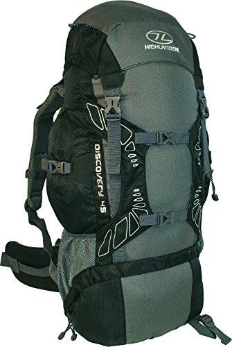 Highlander Discovery - Mochila de senderismo, color negro / gris, 45 L