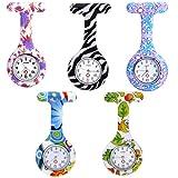 JSDDE 5er Set Krankenschwesteruhr Schwesternuhr Pflegeruhr Silikon Taschenuhr Broschenuhr Quarzuhr Uhren Set