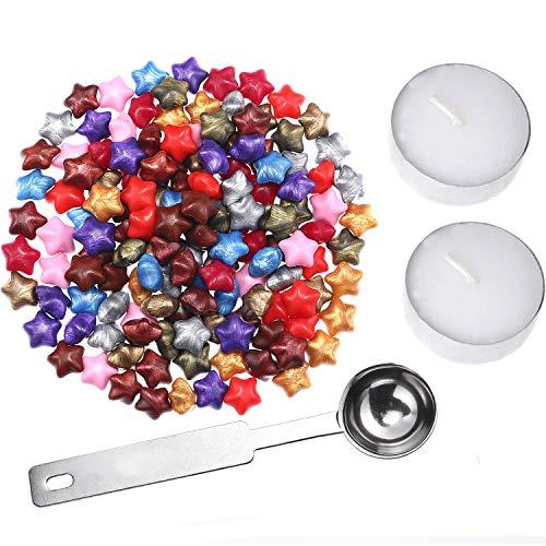 Siegelwachs Set für Siegel Umschläge, Enthalten 140 Stücke Bunte Stern Form Siegelwachs Perlen, 2 Stück Weiße Kerzen und Wachs Schmelzen Löffel