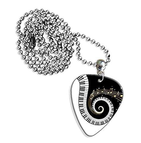 Touches de piano et notes de musique collier Logo de guitare (GD)