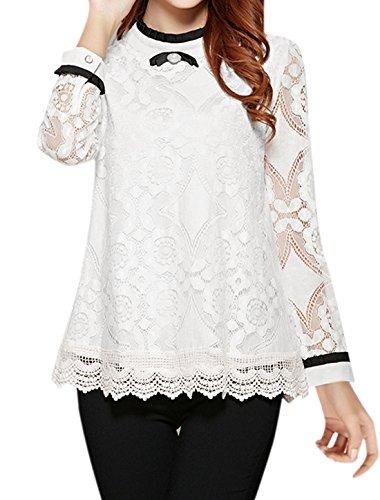 sourcingmap Femme Nœud Papillon Décoration Crochet Panneau Semi-transparente Chemisier Dentelle Blanc