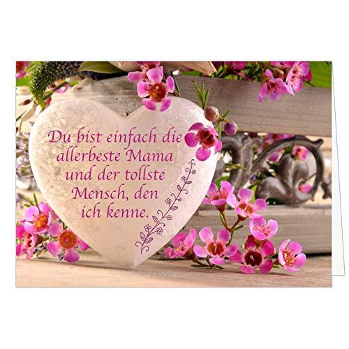 Große XXL (DIN A4) Karte zum Muttertag mit Umschlag/Graviertes Herz mit Spruch/Edle Design Klappkarte/für Mama oder Mami/Moderne Maxi-Karte/zum Geburtstag
