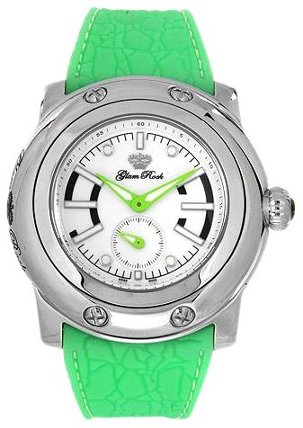 Glam Rock GR30005 - Reloj analógico de mujer de cuarzo con correa de goma verde - sumergible a 100 metros