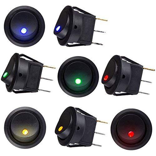 8 Stücke Auto Fahrzeug Lkw Rocker Toggle LED Schalter Blau Rot Grün Gelb Licht On-off-steuerung 12 V 16A (8 Pack)