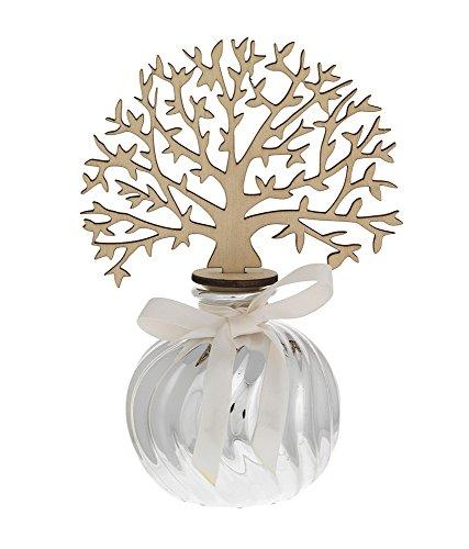 Profumatore argentato | albero della vita in legno | profuma ambiente | porcellana argentata | compreso di essenza profumata | bagutta (1996-01 h 13 cm)
