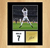 Photo montage signé de Cristiano Ronaldo Real Madrid Portugal MOUNTED
